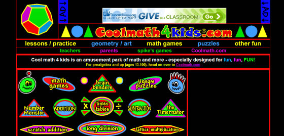 One of the simplest Math Games sites.