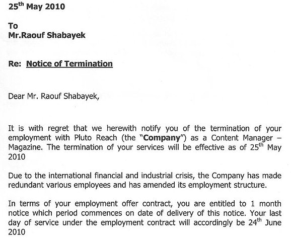 Termination Letter Of Employment Sample] Free Termination Letter ...