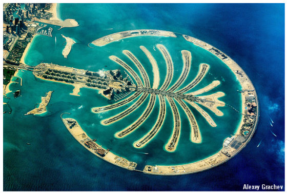 Bird's-eye view of Palm Jumeirah, Dubai