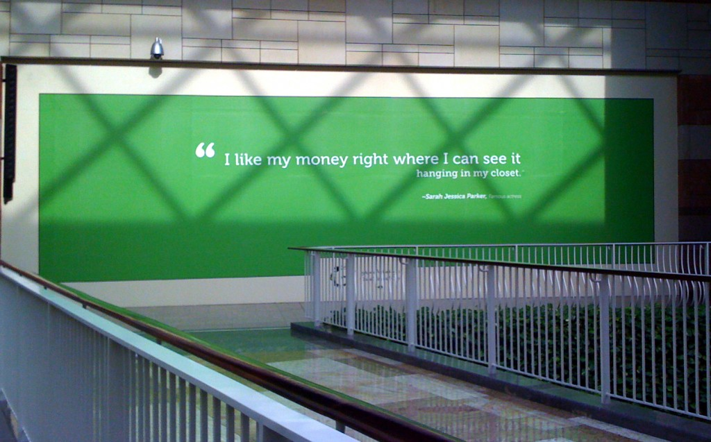 Wall Quotations in Malls in Dubai - Seems Sara Jessica Parker has huge crowded closets.