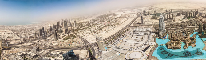 Panoramic Photography of Dubai from Burj Khalifa