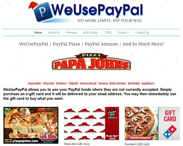 WeUsePayPal-Use PayPal on Amazon & For Pizza