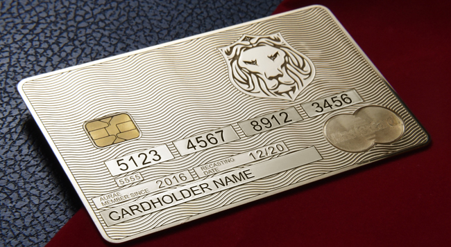 Another example of Aurae's Real Gold Credit Cards