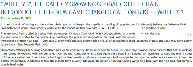 An example of a successful press release, WHEELYS CAFE!
