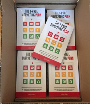 The first box of printed 1-Page Marketing Plan books, as shared by Allan Dib