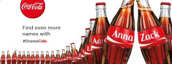An example of creative slogans using Implicit Egotism - Share a Coke